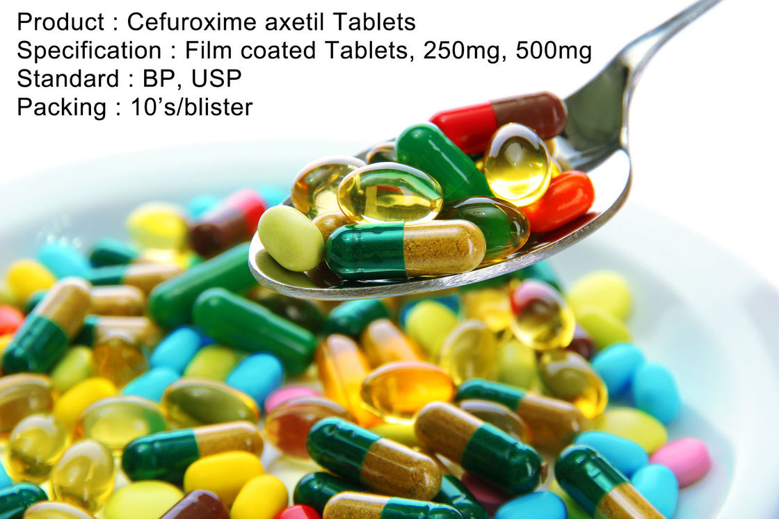 Cefuroxime Axetil Tablets Film coated Tablets, 250mg, 500mg Oral Medications Antibiotics